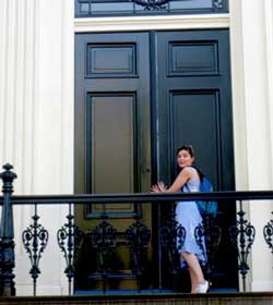 Jessie at the door of the Nella's house! (C) Jessie Burton