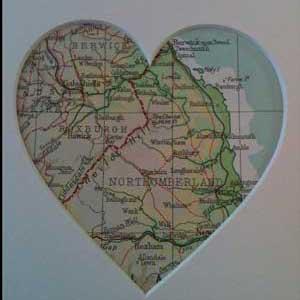 Map of Berwick in a heart shape