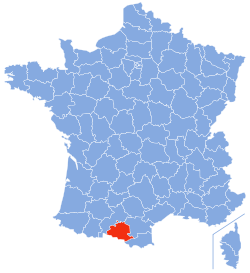 Fogas on a map of France