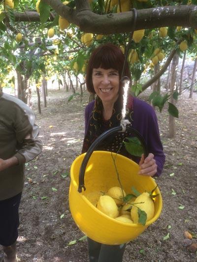 Maeve's friend in the lemon grove (c) Maeve Haran