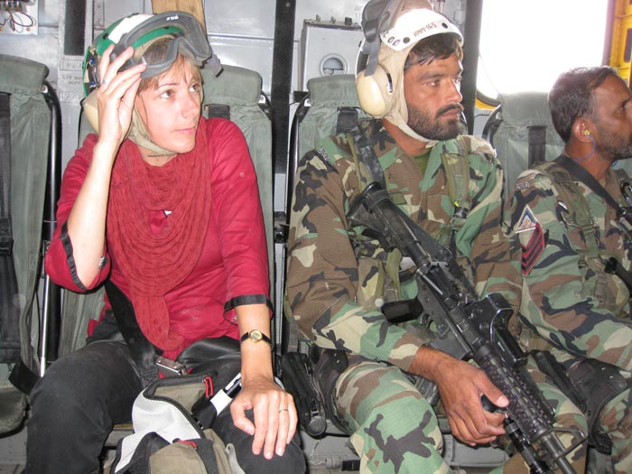 Jill on US helicopter (c) Jill McGivering