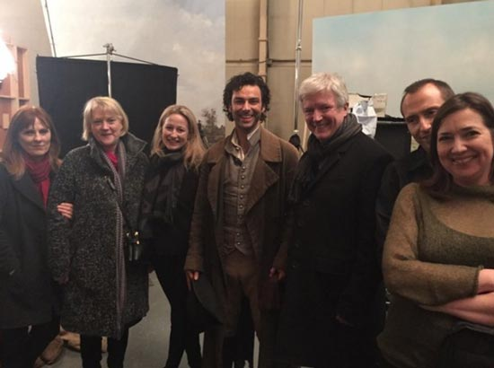 From left to right: Debbie Horsfield, Anne Bulford, Elizabeth Kilgarriff, Aidan Turner, Tony Hall, Damien Timmer, Karen Thrussell. Photo: Mammoth Screen