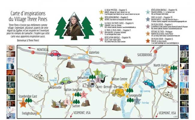 Three Pines map (c) Eastern Townships.org
