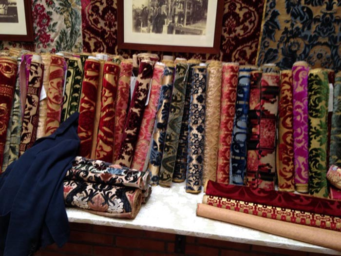 Beautiful silk velvet fabrics at the Bordignon Mill in Venice (c) Debbie Rix