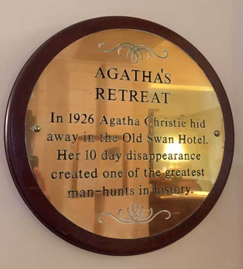 Agatha Christie plaque at Old Swan Harrogate (c) TheBookTrail
