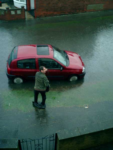 Author's husband rescuing car (c) Louise Beech