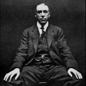 A photograph of paranormal investigator Harry Price, taken by spirit photographer William Hope in 1922