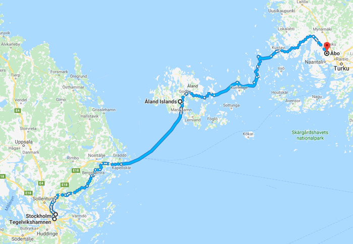 Stockholm to Finland (c) Google