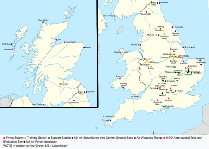 RAF stations in the UK (c) Wikipedia