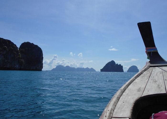 Janice Horton on a longboat on the Andaman Sea