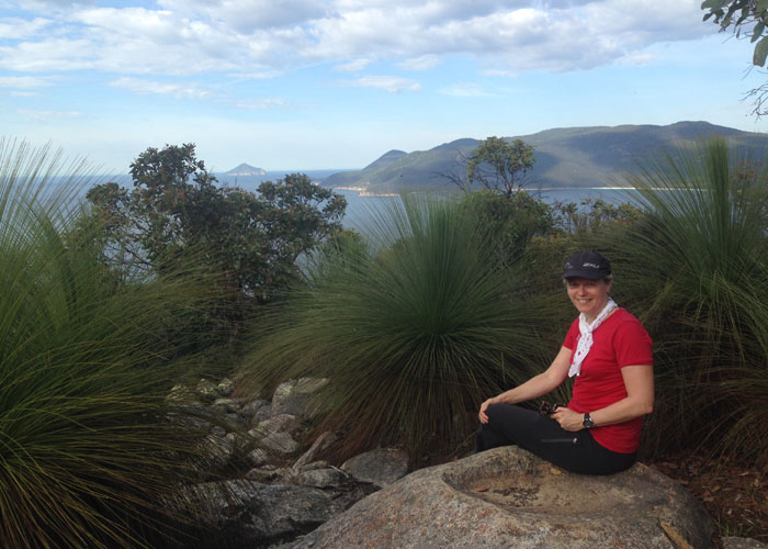 Sally on Kersops Peak, the highest point on Wilsons Promontory (C) Sally Piper