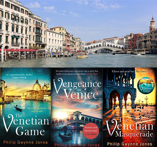 Literary Locations in Venice with books by Philip Gwynne Jones