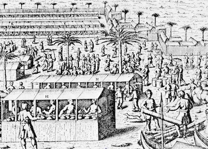 market around 1600, as imagined by Europeans (depicted lower left) (c) Tony Reid