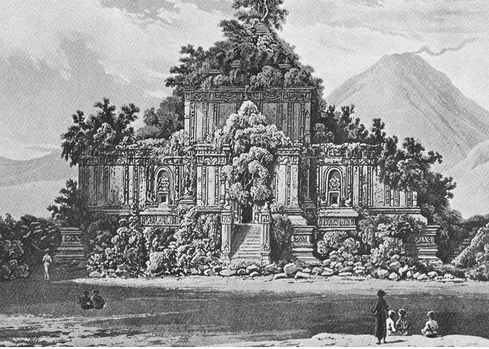 One of Prambanan's many temples, with Merapi volcano in background (Raffles, 1817)