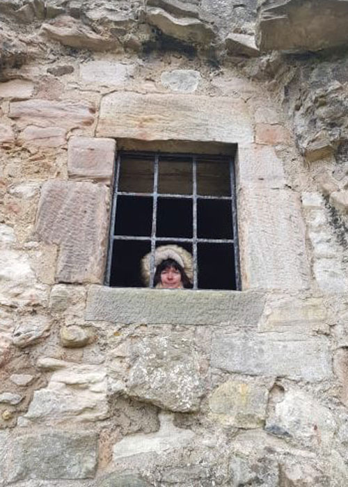 Author on location at the castle (c) Helen Steadman