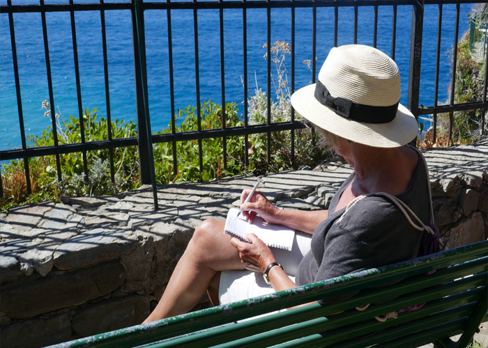 On a writing break in Cinque Terre (c) Rosanna Ley