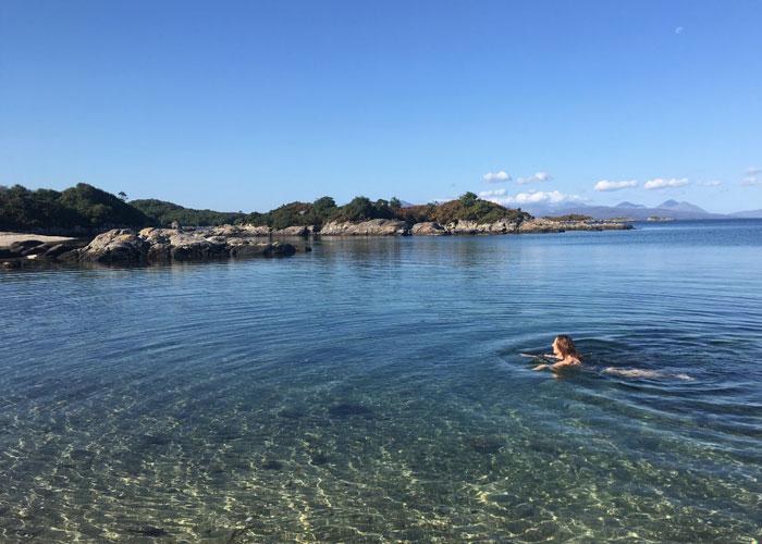 Kiley Dunbar swimming off the Coral Beach at Plockton (c) Kiley Dunbar